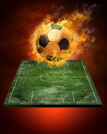 Hot Soccer Ball on die Geschwindigkeit in Feuer Flamme