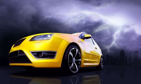 stock car: Beautiful yellow sport car on road and lightning in city