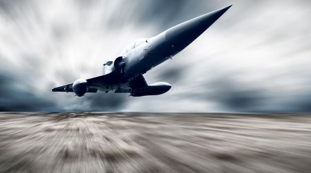 Military airplan on the speed Stock Photo - 7851357