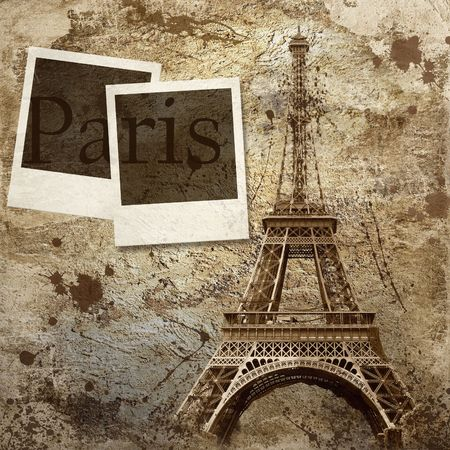 paperboard: Vintage view of Paris on the grunge background