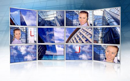 Beautiful business photos in monitors on modern business background Stock Photo