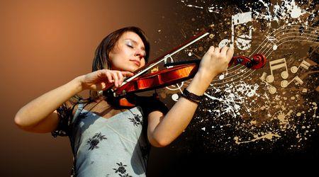Retro musical  grunge violin background Stock Photo - 7927942