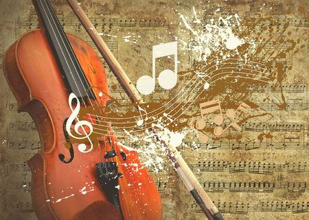 classical music: Retro musical  grunge background