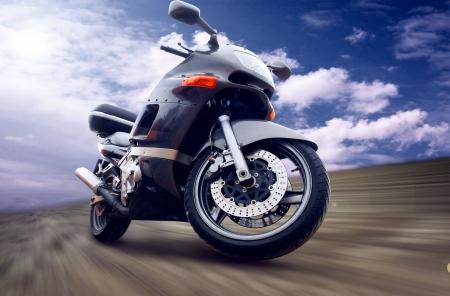 Motorcycle outdoor on speed photo