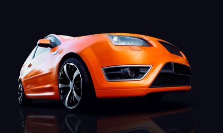 stock car: Beautiful orange sport car on black