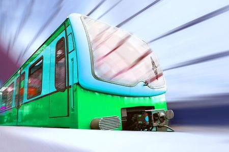 Train on speed in railway station  photo