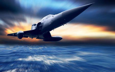 Avión militar bajo el mar