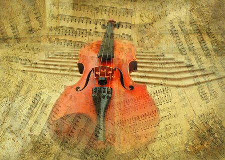 Retro musical  grunge violin background photo