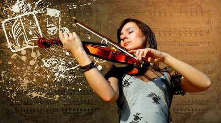 violin background: Retro musical  grunge violin background