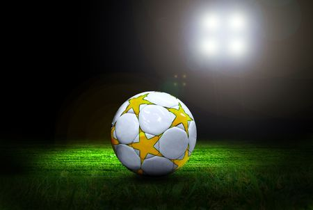 Soccer ball on the field of stadium with light Stock Photo - 7927982