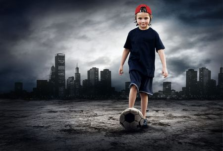 Football player and Grunge ball on the retro grunge background Stock Photo - 7927992