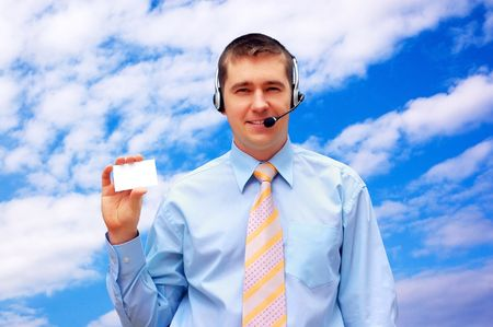 Happiness businessmen with card on blue sky photo