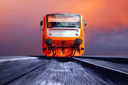 diesel train: Orange train on speed
