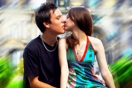 Two happiness love young people on blur historical background photo
