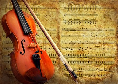 style sheet: Retro musical  grunge violin background