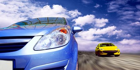 stock car: Beautiful sport cars on speed  Stock Photo