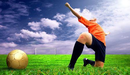Happiness footballer - outdoor Stock Photo - 7995972