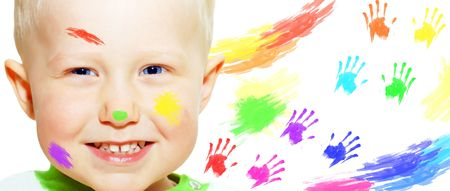 Happiness young smiles boy and color hands photo