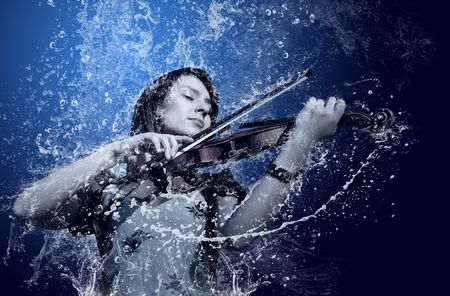 woman violin: Musician playing violin under water