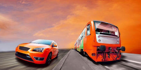stock car: Beautiful orange sport car and train on road