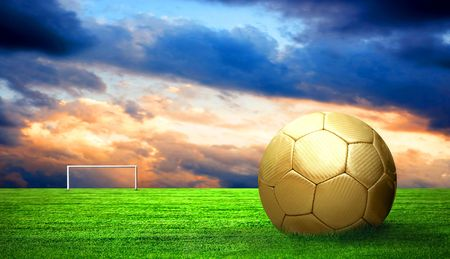 Soccer ball on green grass and sky background Stock Photo - 7996017