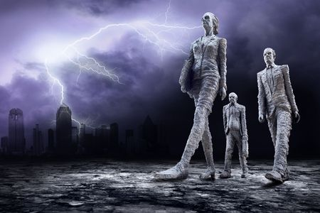 Crisis in world on dark sky with lightning  Stock Photo - 7996016