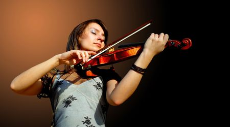 fiddles:  Musician playing violin Stock Photo