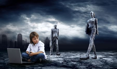 Crisis in world. Boy with laptop on dark sky with lightning  Stock Photo - 7997142