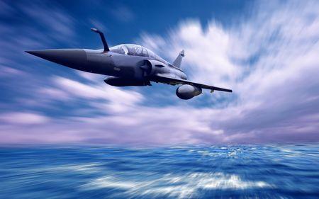 Airplan militaire sur la vitesse.