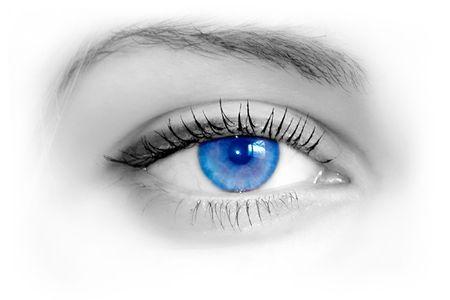 Mooie vrouwelijke blauwe ogen. Macro-opnamen Stockfoto