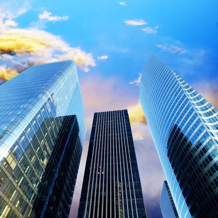 Modern office  Skyscrapers on the sunny beautiful sky Stock Photo - 7997288