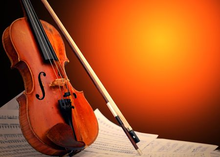 Musical instrument - violin and notes photo