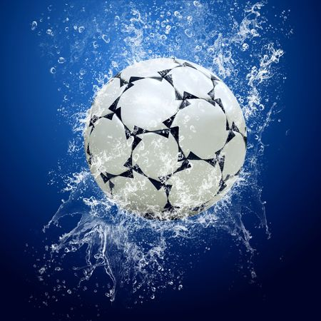 water feature: Water drops around soccer ball on blue background