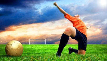 Happiness footballer - outdoor Stock Photo - 8114737
