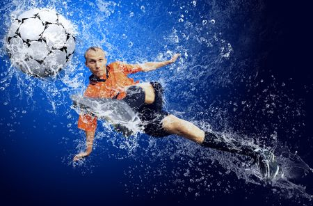 water feature: Water drops around football player under water on blue background