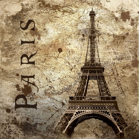 Vintage view of Paris on the grunge background Stock Photo - 8114754