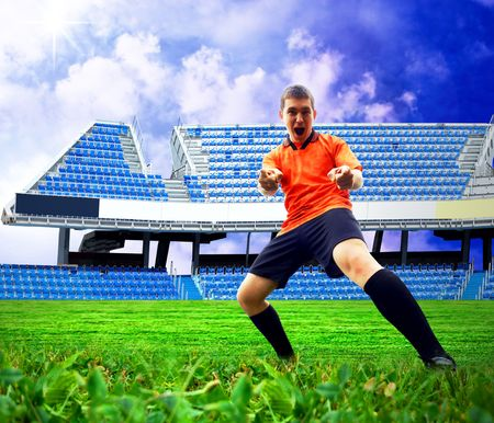 Happiness football player after goal on the field of stadium under sky Stock Photo - 8114763