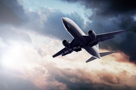 Airplane on blue sky  photo