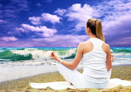 Young beautiful women in white, relaxation on the sunny tropical beach Stock Photo - 8174532