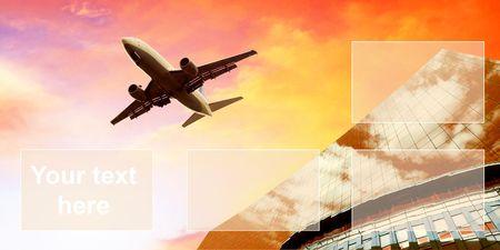 aerospace industry: Airplane on  the sunrise sky