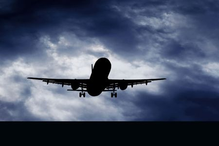 aerospace industry: Airplane on blue sky