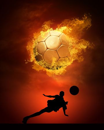 Hot soccer ball on the speed in fires flame Stock Photo - 8174576