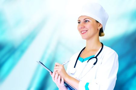 Smiling medical doctor with stethoscope on the hospitals background Stock Photo - 8171878