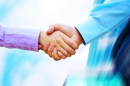 shake hand: Shaking hands of two business people Stock Photo