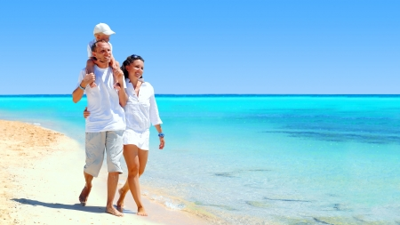 View of happy young family having fun on the beach Stock Photo - 8171910