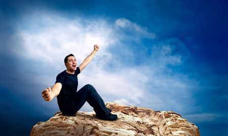 Man on the top of mountain. Stock Photo - 8171964