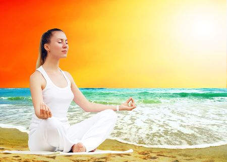 Young beautiful women in white, relaxation on the sunny tropical beach Stock Photo - 8188554