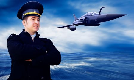 air force: Pilot and military airplan on the speed