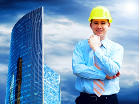 Businessman on the Modern business architecture background Stock Photo - 8255114