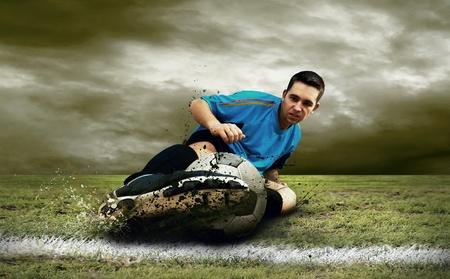 joueurs de foot: Joueurs de foot sur le terrain  Banque d'images